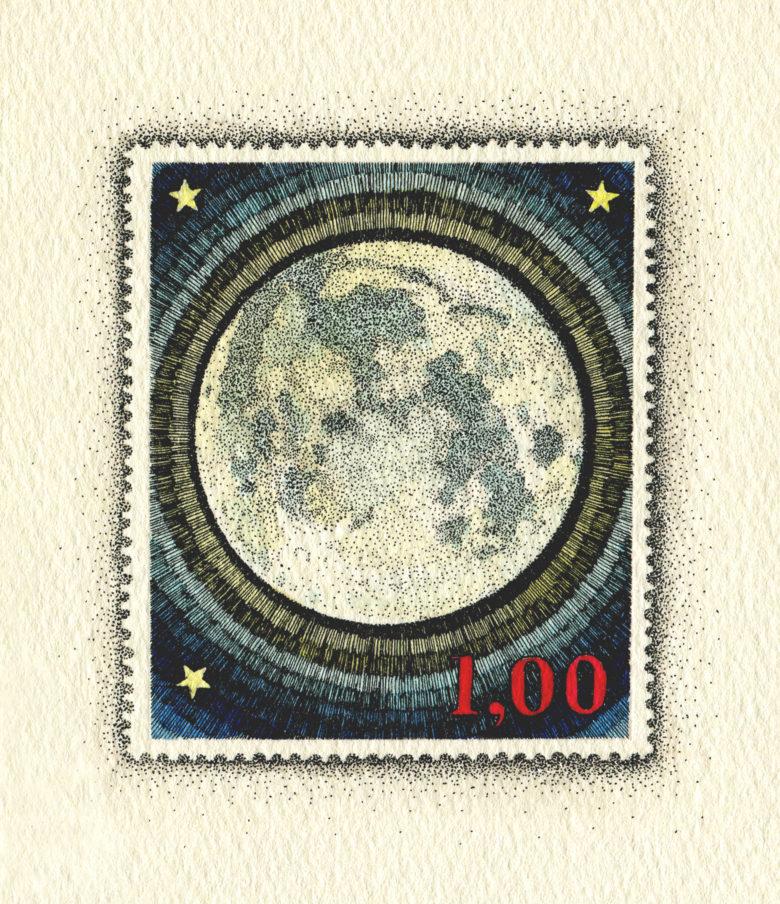 架空の国の架空の切手 満月と三星