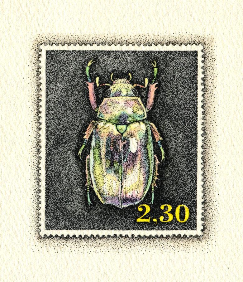 架空の国の架空の切手 虹色虫