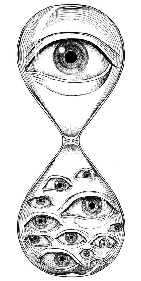 「ことぜん」 マーク 砂時計の中に人の目 上部が「個」、下部が「全体」を表します