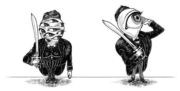 『タージマハルの衛兵』チラシ用カット 「真面目な衛兵と自由な衛兵