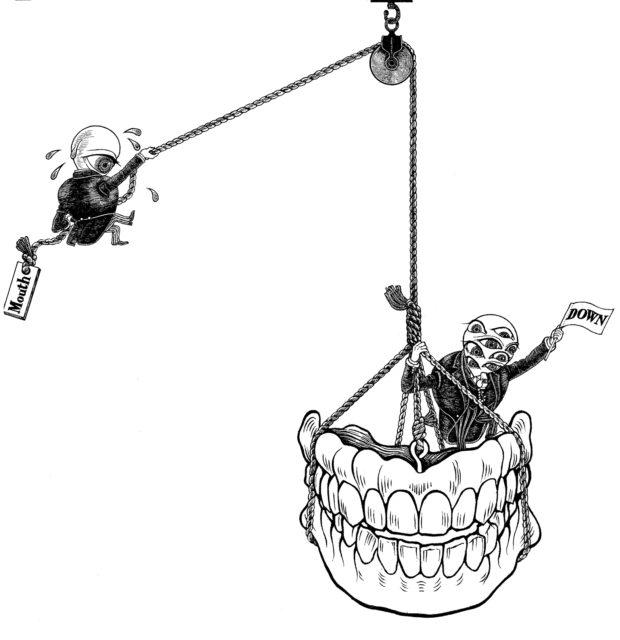 『タージマハルの衛兵』チラシ用カット 「ハリボテの歯を下ろす