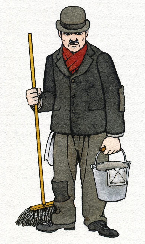 『キネマの天地』 原画 掃除のおじいさん