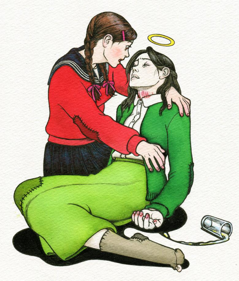 『キネマの天地』 原画 チエ子を介抱する菊江